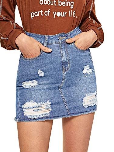 Verdusa Women's Casual Distressed Fray Hem A-Line Denim Short Skirt Blue L