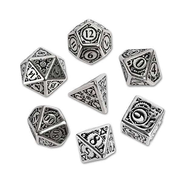 Q WORKSHOP Metal Steampunk Dice Set 7 Polyhedral Pieces 3