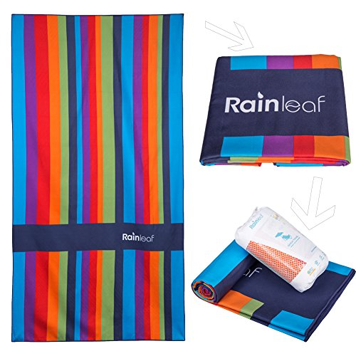 Rainleaf Microfiber Camp Towel Perfect Beach Travel Swimming Yoga Bath Towel,Fast Drying - Lightweight - Super Absorbent - Ultra Compact. Rainbow Colors,40x 70 - Beach Towel Swimming