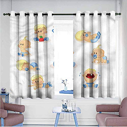 Abeocg Bedroom Windproof Curtain Baby Goofy Infnat Boy Crying Printing Insulation W55 xL72 Suitable for Bedroom,Living,Room,Study, etc. (Fall Out Boy Champagne For My Real Friends)