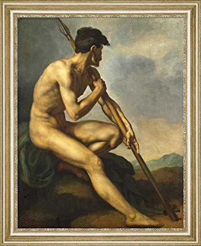 "Nude Warrior with a Spear by Theodore Gericault - 15"" x 19"" Framed Premium Canvas Print"
