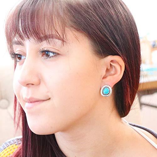 Vivid Blue MORENCI TURQUOISE EARRINGS Post Style Southwest Boho ()
