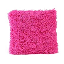 Mapletop Fur Pillow Case Sofa Cushion Waist Throw Plush Cover Home Decor (Hot Pink)