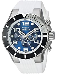 Invicta Men's 'Pro Diver' Quartz Stainless Steel and Silicone Casual Watch, Color:White (Model: 24171)