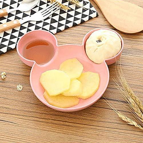 Beige OurLeeme Platos para ni/ños Plato de fruta de dibujos animados Plato de cena Bandeja Comida Comida Plato de arroz Plato de comida Plato de cena para ni/ños Reutilizable sin BPA