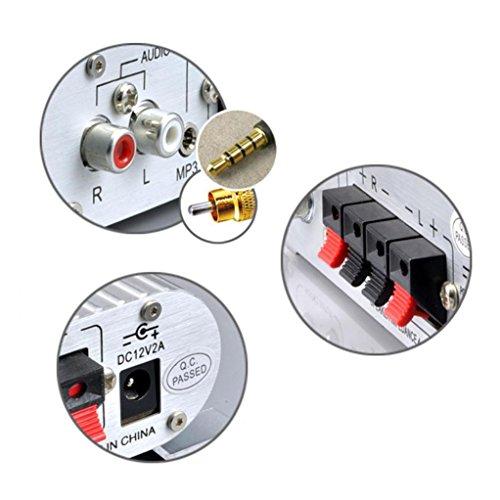 DDLBiz(TM) Mini Hi-Fi Audio Stereo Amplifier 12V 20W X2 RMS Amp For Home Car Silver by DDLBiz (Image #4)'