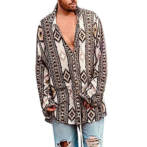Stoota Men Baggy Beach Shirts,Print Long Sleeve mit