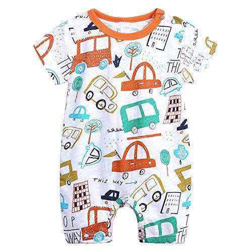 Feidoog Baby Boys and Girls' Summer Short Sleeve Pajama Cute Cartoon Romper Outfits,Car,6-9M (Outfit Car)