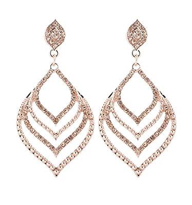JYJ Gemstone Dangle Drop Earings Leaf Shape Diamond Earrings for Women Girls