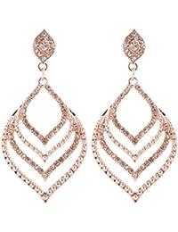 Pierced Leaf Earrings Statement Hollow Dangle Earrings for Women Openwork Layered Bohemian Drop Earrings Filigree Rhinestone Wedding Bridal Party Earrings
