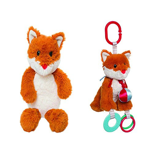Woodland Babies Felix Fox Gift Set - Plush Giraffe Teether Musical Pull Toy and Plush Ring Rattle Toy (Ball Link Tail)