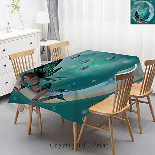 Pure Linen Plain Tablecloth Athena,Natural Rectangular Table Cloth for Indoor and Outdoor Use,Natural Tablecloth,47x63 Inch,Moon,Beautiful Elf with Wings Fantastic Toonimal Faeire Pixie Starry Sky Cos ()