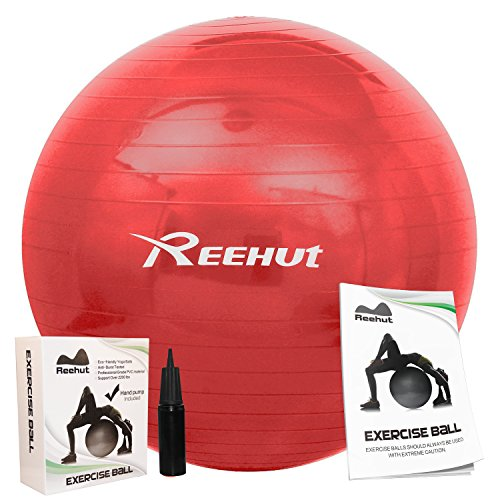 Reehut Anti-Burst Core Exercise Ball w/ Pump & Manual for Yoga, Workout, Fitness (Red, 85cm)