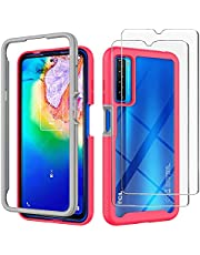 FLYME for TCL 20S Case with Tempered Glass Screen Protector (2 Pack),Flexible Scratch Resistant Non-Slip Shockproof Cover Soft Back Clear TPU Rubber Slim Phone Case,Red