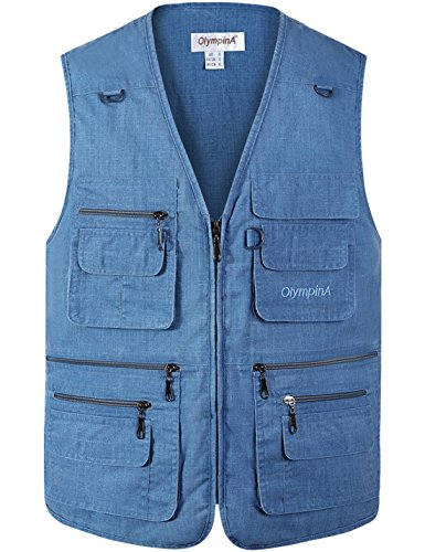 Flygo Men's Summer Casual Fishing Photography Vest Multiple Pockets Outdoor Waistcoat Jacket (Small, Denim Blue)