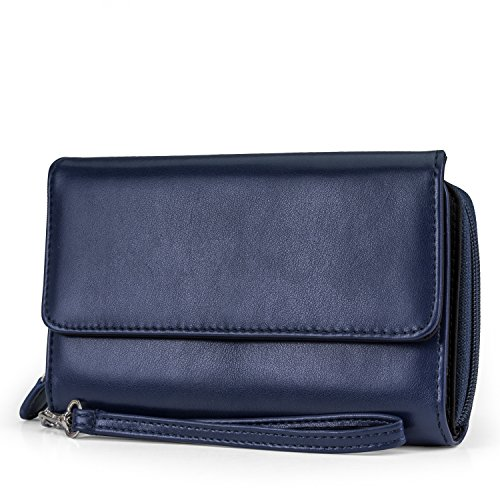 MUNDI Big Fat Womens RFID Blocking Wallet Clutch Organizer Removable Wristlet (Navy) by Mundi