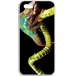 Apple iPhone 5 5S Cases Customized Gifts For Animals animals chameleon on a bamboo 16796 Black