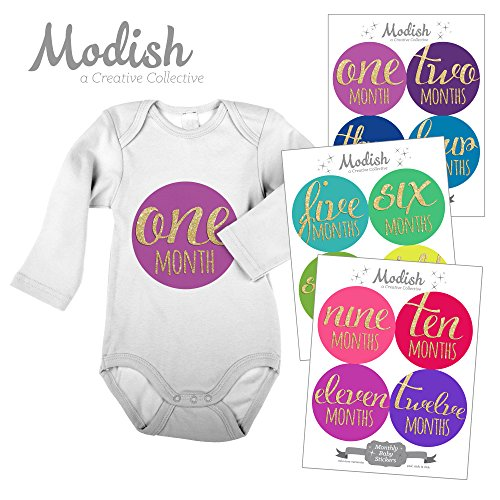 12 Monthly Baby Stickers, Rainbow, Gold Glitter {Faux}, Girl, Boy, Gender Neutral, Baby Belly Stickers, Monthly Onesie Stickers, First Year Stickers Months 1-12, Rainbow Colors, Gold Glitter {Faux}, Gender Neutral, Baby Boy, Baby Girl