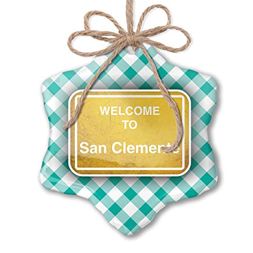 NEONBLOND Christmas Ornament Yellow Road Sign Welcome to San Clemente Pastel Mint Green Plaid