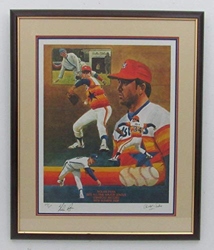 Nolan Ryan Houston Astros Signed/Framed 17x22 Paluso Lithograph RARE 141358 - Autographed MLB Art