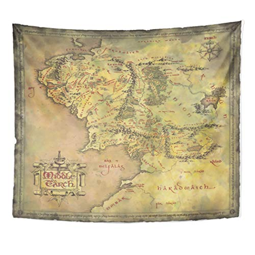 Semtomn Tapestry Artwork Wall Hanging Middle Earth Map 60x80 Inches Tapestries Mattress Tablecloth Curtain Home Decor Print (Lord Of The Rings Cloth Map)