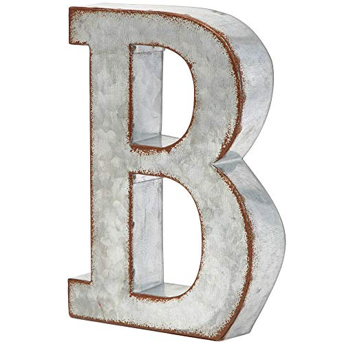 Bright Creations Rustic Letter Wall Decor - Galvanized Metal 3D Letter B Decor (Wall Letters Home)