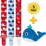 4-in-1 Pacifier Clips+Antibacterial Pacifier Holder by Moskka-Set of 3 Universal Pacifier Clips&Paciafier Pocket/Case Infant Teething Ring&Toys Holder for Baby Boy And Girl-Baby Shower Gift-Whale