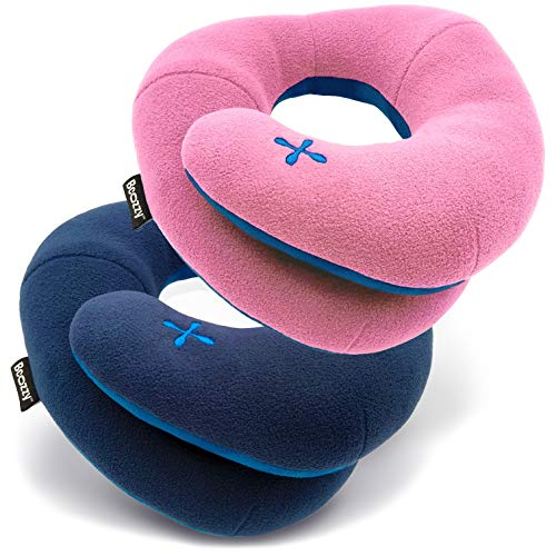 BCOZZY Travel Pillow, Patented Neck & Chin Support for Comfortable Sleep on Airplane & Car, Lightweight & Soft, Dual-Sided Climate Control Cover, Fully Machine Washable. Adult Set, Navy+Pink