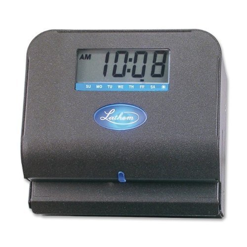 Thermal Clock - Lathem Tru-Align Thermal Print Time Clock, Automatic, Includes 25 E8 Time Cards, Gray (800P)