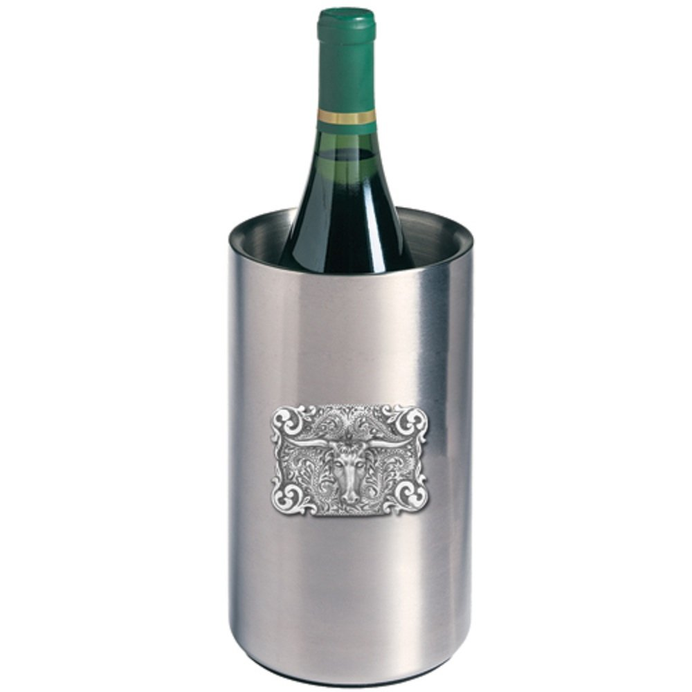 ANIMAL, TEXAS LONGHORN BULL WINE CHILLER, This is a wine chiller made of double-wall insulated stainless steel with a fine pewter logo medallion bonded to the front.