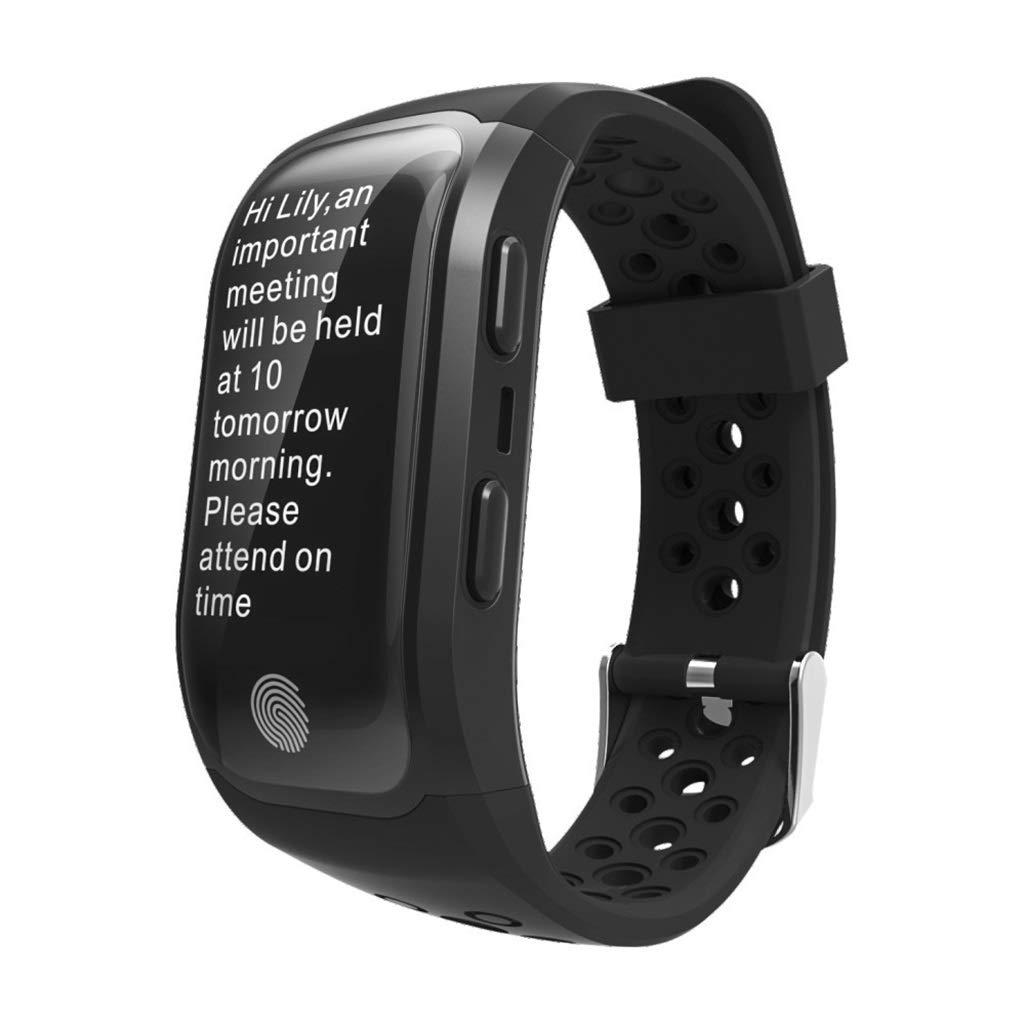 フィットネストラッカースマートブレスレットGPSアウトドアスポーツブレスレット情報コールリマインダー健康IP68男性と女性互換性のあるAndroidとIOS-3の色オプション B07MQ3S5LF black