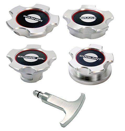 2011-2014 Mustang GT Billet Aluminum Engine Caps Set - Carbon Fiber Labels