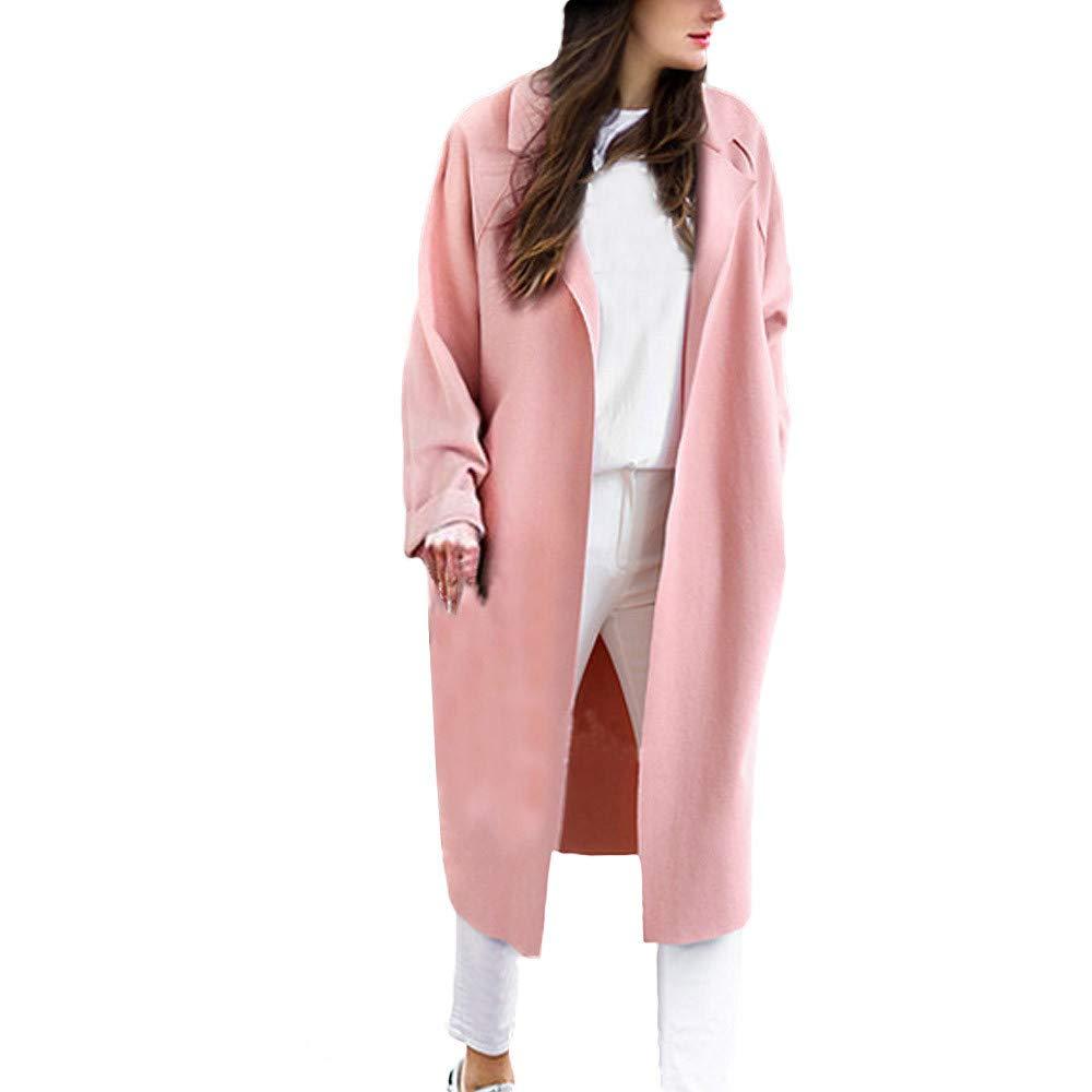 Cardigan Tops,BeautyVan Women Loose Casual Trench Lapel Long Coat Cardigan Jackets Outwear