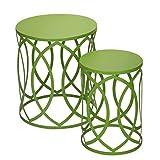 Adeco Accent Round Iron Nesting Tables/Stools (Set of 2), Khaki Green