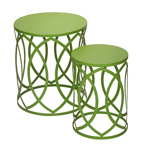 Adeco Accent Round Iron Nesting Tables/Stools, Interlocking Oval Pattern, Khaki Green (Set of 2)