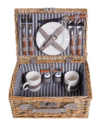 Picknick Korb komplett Porzellan Geschirr 2 Personen Weidenkorb Picknickkorb Weidenholz Weidenpicknickkorb
