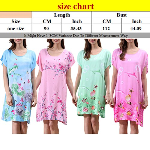 Zhhlaixing Summer Elegant Womens Round Neck Princess Sleep Skirt Pajamas One Size Green