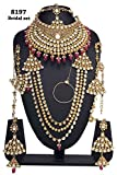 Womens Amazing Style Gold Plated Kundan Stone Indian Necklace Earrings Bridal Set Partywear Jewelry