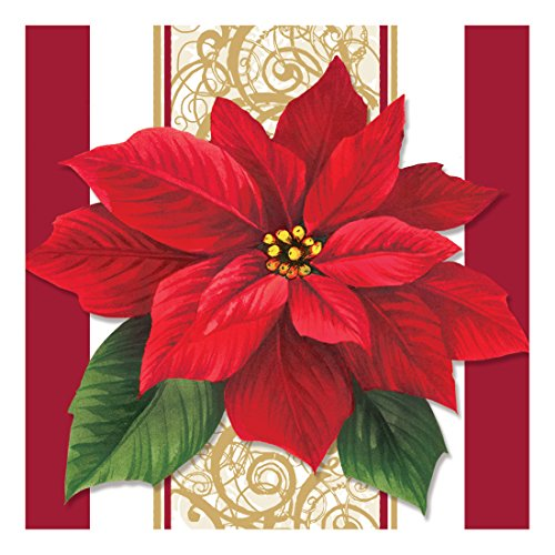 Creative Converting Paper Beverage Napkins, Poinsettia Lace, 16 Count