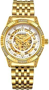 BINLUN 18K Gold Plated Automatic Wrist Watches for Men Mechanical Luxury Men's Dress Watch