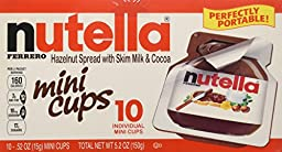 Nutella Ferrero Hazelnut Spread With Skim Milk Cocoa - Mini Cups - 3 Pack (5.2oz Each Box) Made in Germany