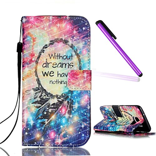 S7 Edge Case,Galaxy S7 Edge Wallet Case,EMAXELER Printed Fantastic Romantic Colorful Pretty Commuter Magnetic PU Leather Flip Protective Cover with Stand for Samsung Galaxy S7 Edge--Feather Circle