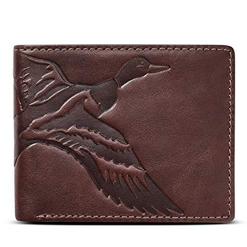 HOJ Co. DUCK Men's Leather Bifold-Full Grain Leather-Mens Leather Wallet-Duck Hunter Gift (Men Wallets Hunting)