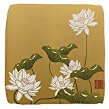 18 Inch 6-Sided Cube Ottoman Lotus Flower Chinese Flag