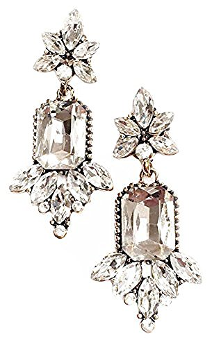Art Deco Antique Vintage Flapper Style Rhinestone Wedding Bridal Prom Earrings (Bridal Earrings Vintage)