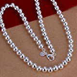 NEW 925 Sterling Silver 8mm20 Hollow Beads Chain Necklace N111