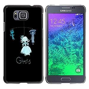 GOODTHINGS Funda Imagen Diseño Carcasa Tapa Trasera Negro Cover Skin Case para Samsung GALAXY ALPHA G850 - fantasmas niños de juguete divertido gato negro