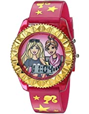 Barbie Girls' Quartz Watch with Plastic Strap, Pink, 17.6 (Model: BAB4001)