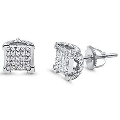 c05e15ef0 Amazon.com: 8mm Square Hip Hop Men Women Unisex Stud Earrings Screw-Back  Round Pave Iced Out Simulated Cubic Zirconia 925 Sterling Silver: Jewelry