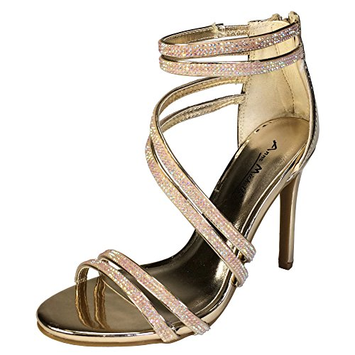 Anne Michelle Women's Asymmetrical Strappy Dress Heel Sandal, Gold Patent PU, 8.0 B (M) US